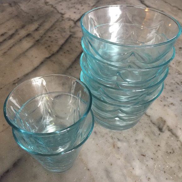 Vintage Light aqua blue beachy wave glass dishes